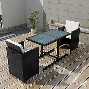 Tidyard Conjunto Muebles de Jardín de Ratán 7 Piezas Sofa Jardin Exterior Sofas Exterior Conjunto Jardin para Jardín Terraza Patio en Poli Ratán Negro: Amazon.es: Hogar