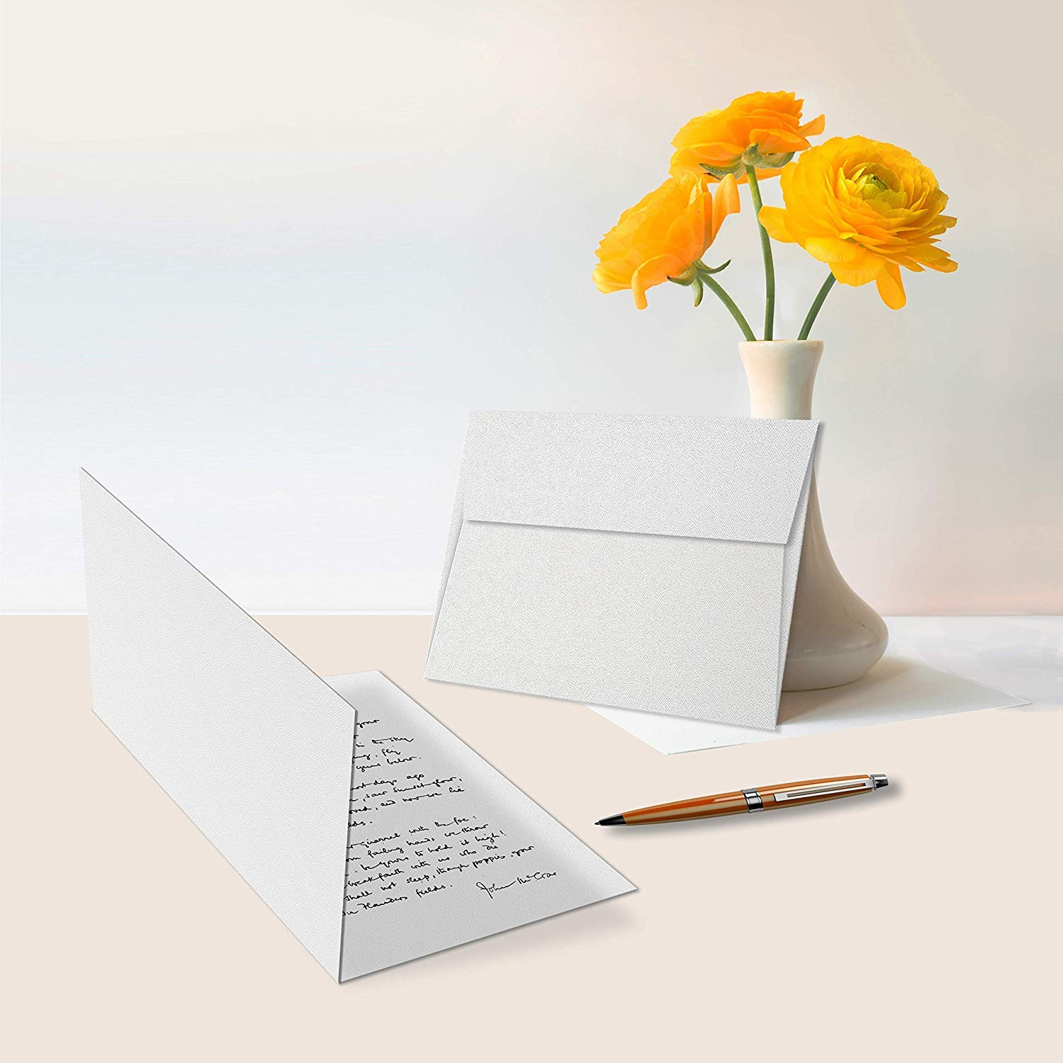 White Blank Greeting Fold Over Cards 80lb. Uncoated, 4 1/2 X 6 Inches Cards - 40 Foldover Greeting Cards Cards and Envelopes by S Superfine Printing (Image #6)