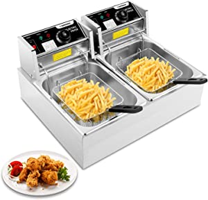 Hopekings Electric Deep Fryer with 2 basket and Lid, Commercial Deep Fat Fryer Stainless Steel Double Countertop Oil Fryer for French Fries Fish Turkey Donuts Restaurant Home Kitchen(12.7QT/12L)