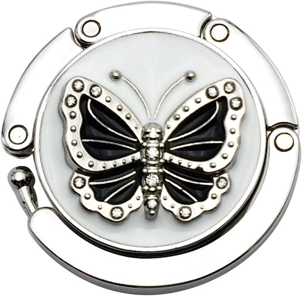 Reizteko Purse Hook, Crystal Rhinestone Butterfly Foldable Handbag Purse Hanger Hook Holder for Tables (Black)