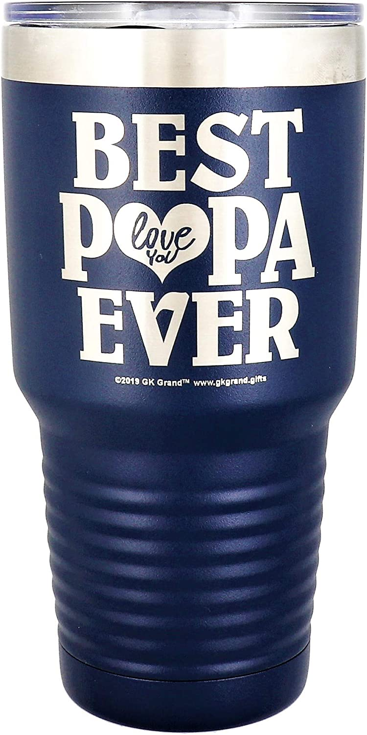 Best Papa Ever Love You Stainless Steel Vacuum Insulated Tumbler Large Travel Coffee Mug Hot Cold GK Grand Designed & Engraved Birthday Fathers Day Christmas Dad Gifts for Papa (Navy Blue, 30 oz)