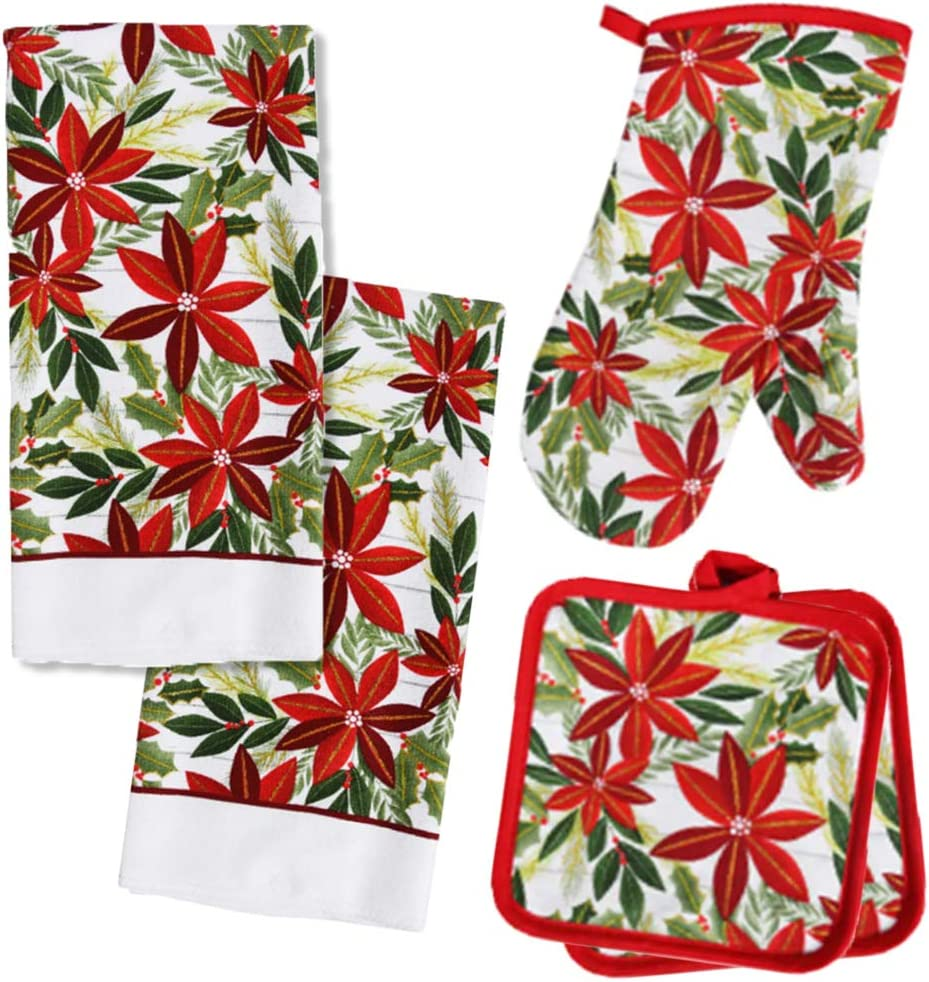 Holiday Kitchen Poinsettia Christmas Towel Set with 2 Quilted Pot Holders, 2 Microfiber Dish Towels and 1 Oven Mitt