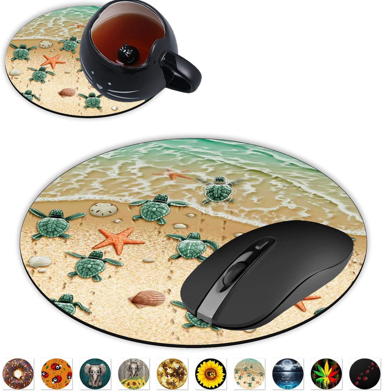 Round Mouse Pad and Coasters Set, Sea Turtles on The Beach, Starfish Shell Blue Ocean Painting Art Mousepad, Anti Slip Rubber Round Mousepads Desktop Notebook Mouse Mat for Working and Gaming