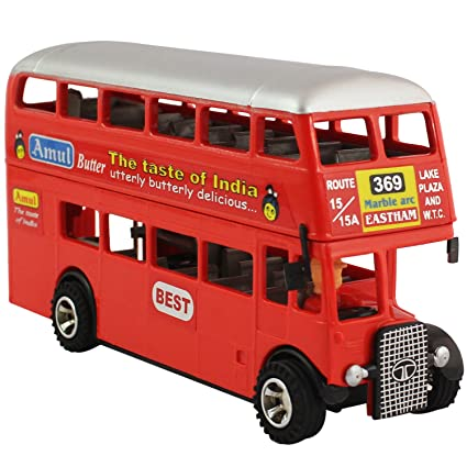 Deal Bindaas Shinsei Pull Deluxe Double Decker Bus, Miniature Scaled  Models, Dinky Cars (Red)