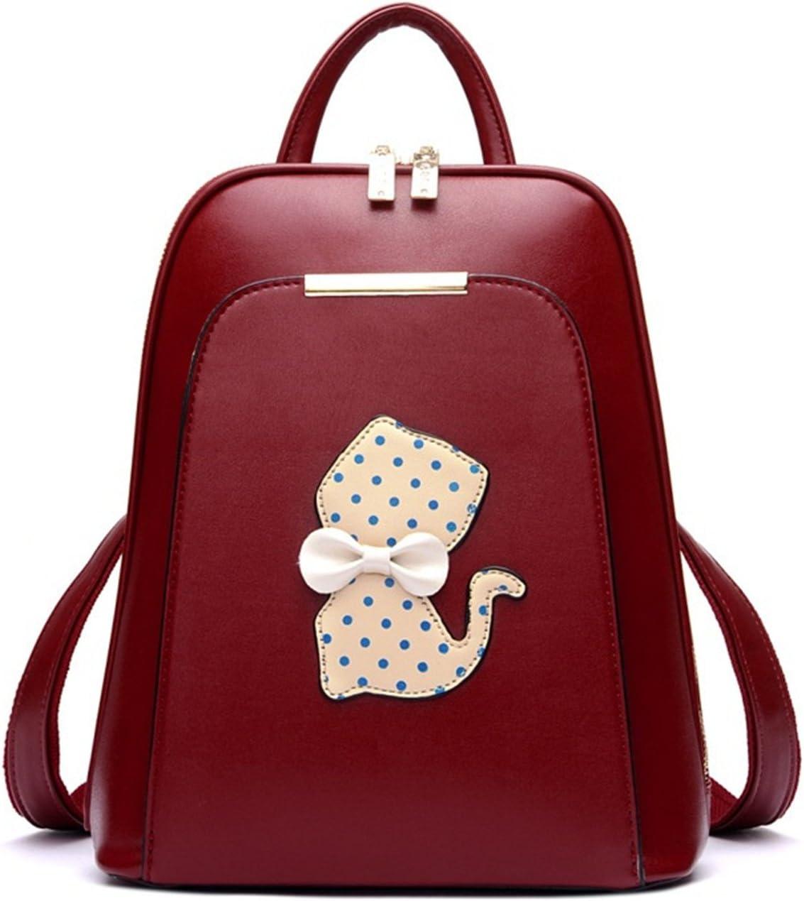 Backpack Women Black Back Pack School Bags Teenage Girls Gold Pu Cat Red