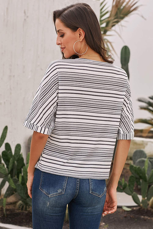 storeofbaby Camicie Casual da Donna Top a Righe Camicetta a Maniche Corte Soft Comfy