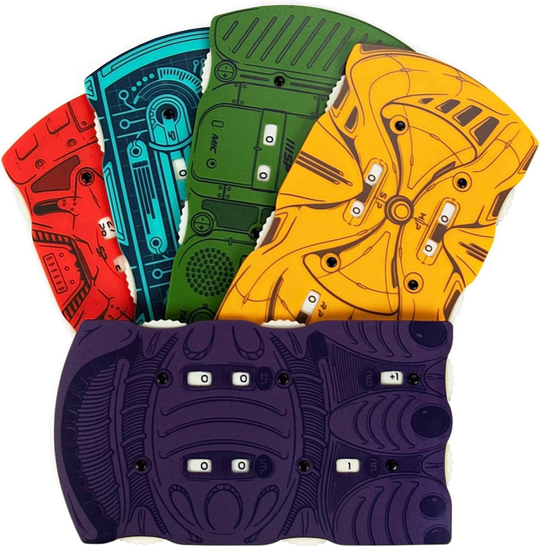 Paquete de 5 rastreadores de salud de bolsillo Sci-Fi, alienígena espacial, accesorio de juego de rol de mesa retro, personaje HP Tracker compatible con Starfinder y Dungeons & Dragons