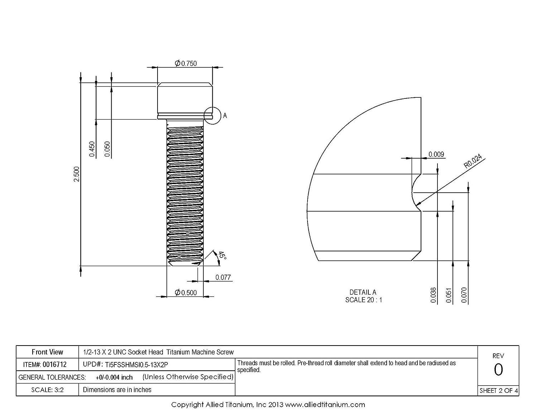 Grade 5 Allied Titanium 0016712, 610408004 1//2-13 X 2 UNC Socket Head Machine Screw Ti-6Al-4V Pack of 2 Inc