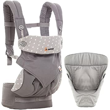58b80b7714b Amazon.com   Ergobaby 360 All Carry Positions Bundle Of Joy with Easy Snug  Infant Insert - Dewy Grey   Baby