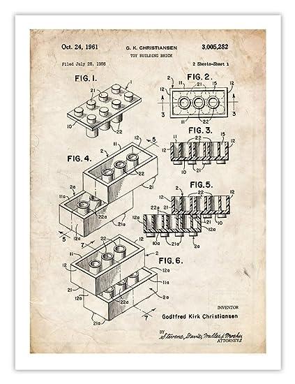 "Amazon.com: LEGO Toy Blocks 1961 Patent Art Print (5"" x 7""): Posters ..."