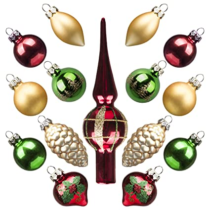 Kingyee Miniature Ornaments and Tree Topper Christmas Mini Glass Tree  Decorations Set of 15 for Tabletop - Amazon.com: Kingyee Miniature Ornaments And Tree Topper Christmas