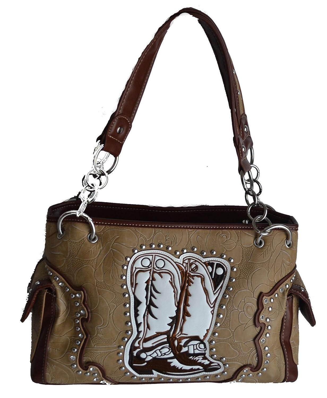 Western Boot Cowgirl Rhinestone Leather Handbag Purse