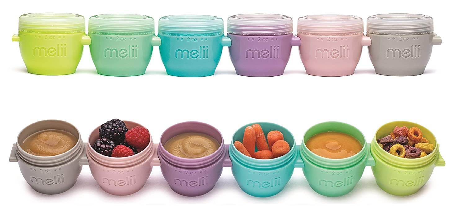 melii Snap & Go Baby Food Freezer Containers & Snack Containers, 2Oz/59 ml, 6 pk