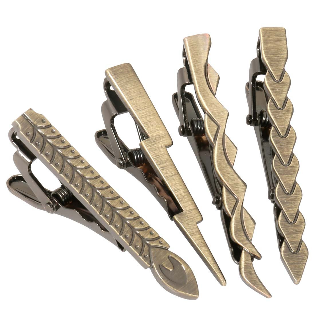 Bundle Monster 4 pc Lightning Warrior Tie Clip Mixed Design Set - Brushed Brass