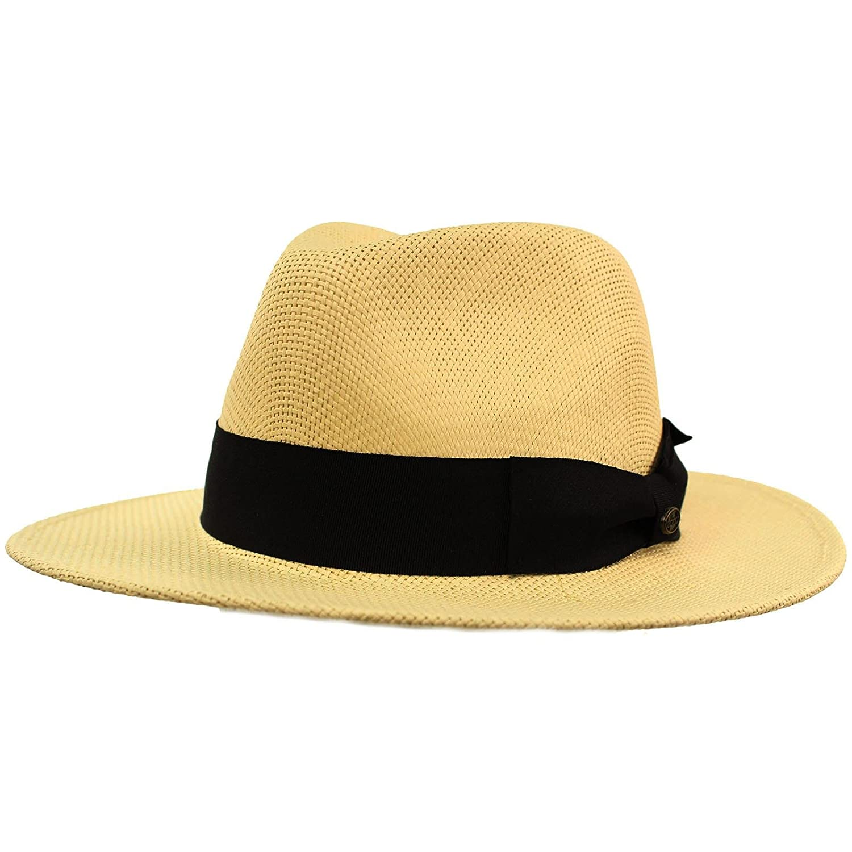 SK Hat shop Men s Summer Lightweight Panama Derby Fedora Wide 2-3 4 Brim Hat  at Amazon Men s Clothing store  7b6ca5504f4