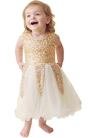 UNIQUEONE Baby Girls Summer Sleeveless Sequin Tulle Dress Party Wedding Princess  Dress Size 6-12Month e8ecdc8a81d2