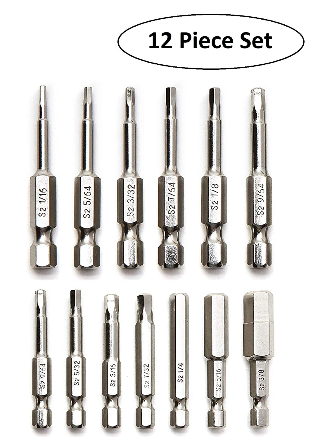 Baker and Bolt Allen Wrench Drill Bit Set (12pc COMPLETE SAE SET) Hex Shank Magnetic Bit Set - THE GIFD COLLECTION - Fortified S2 Steel - Long 2in Heads for Handheld and Electric Drills