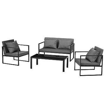 [casa.pro]®] Salon de Jardin Ensemble de Jardin Table Basse avec Canapé et  Chaises Extérieures Métal Verre Polyester Noir