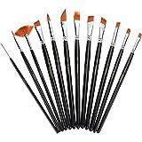 Xpassion ペイントブラシ アクリル筆 油絵筆 水彩筆 画筆 12本セット ブラック