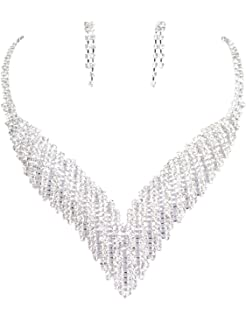 Clearbridal Women's Rhinestones Necklace Earrings Sets Bridal Jewelry for Wedding Prom and Evening Party