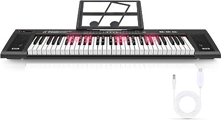 Magicfun Teclado Electrónico 61 Teclas, Teclado de Piano Digital Portátil con Atril, 200 Ritmos, 200 Tonos y Modo de Enseñanza de Iluminación LED para ...