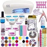 Set profesional de artículos para la decoración de uñas; polvo de acrílico, 24 colores, gel UV, lámpara blanca UV de secado, estrás.