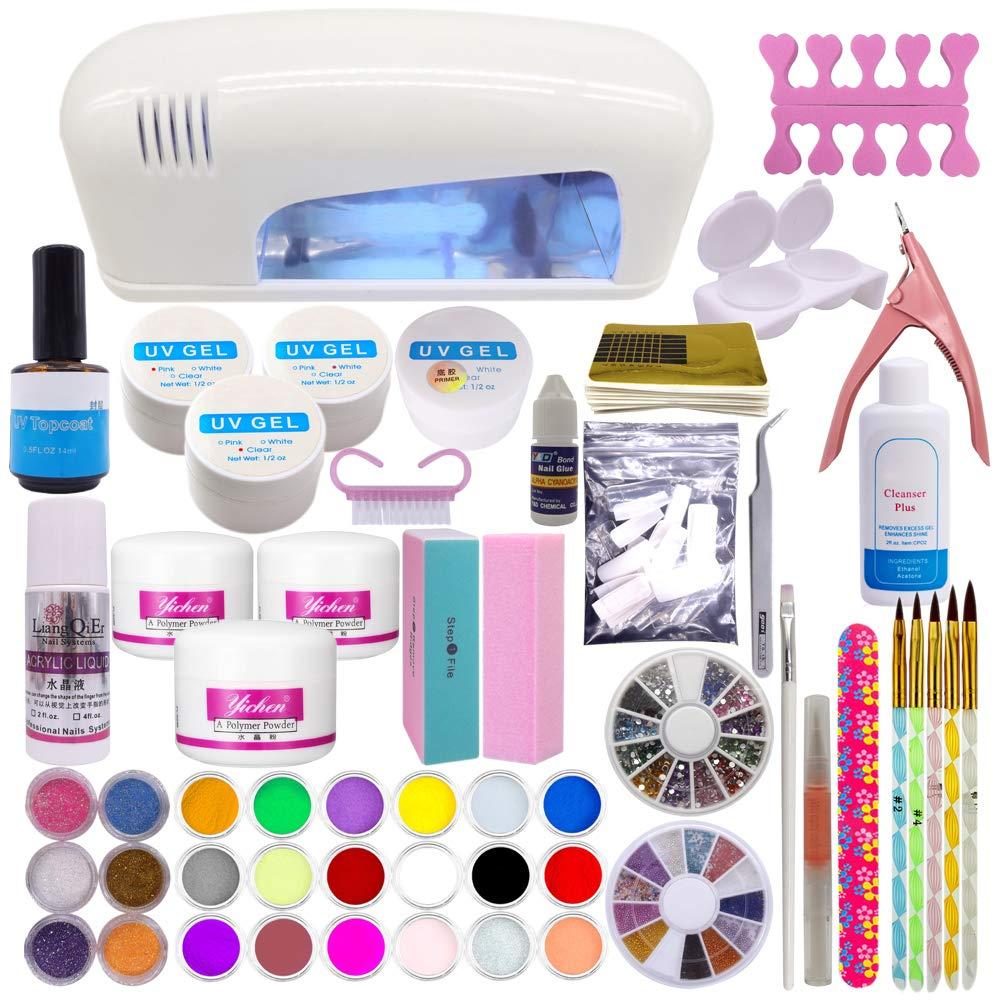 Set profesional de artículos para la decoración de uñas; polvo de ...