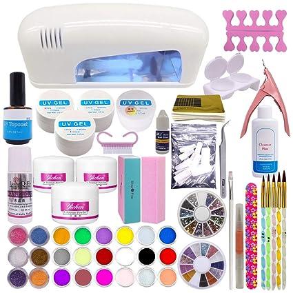 Set Profesional De Artículos Para La Decoración De Uñas Polvo De Acrílico 24 Colores Gel Uv Lámpara Blanca Uv De Secado Estrás
