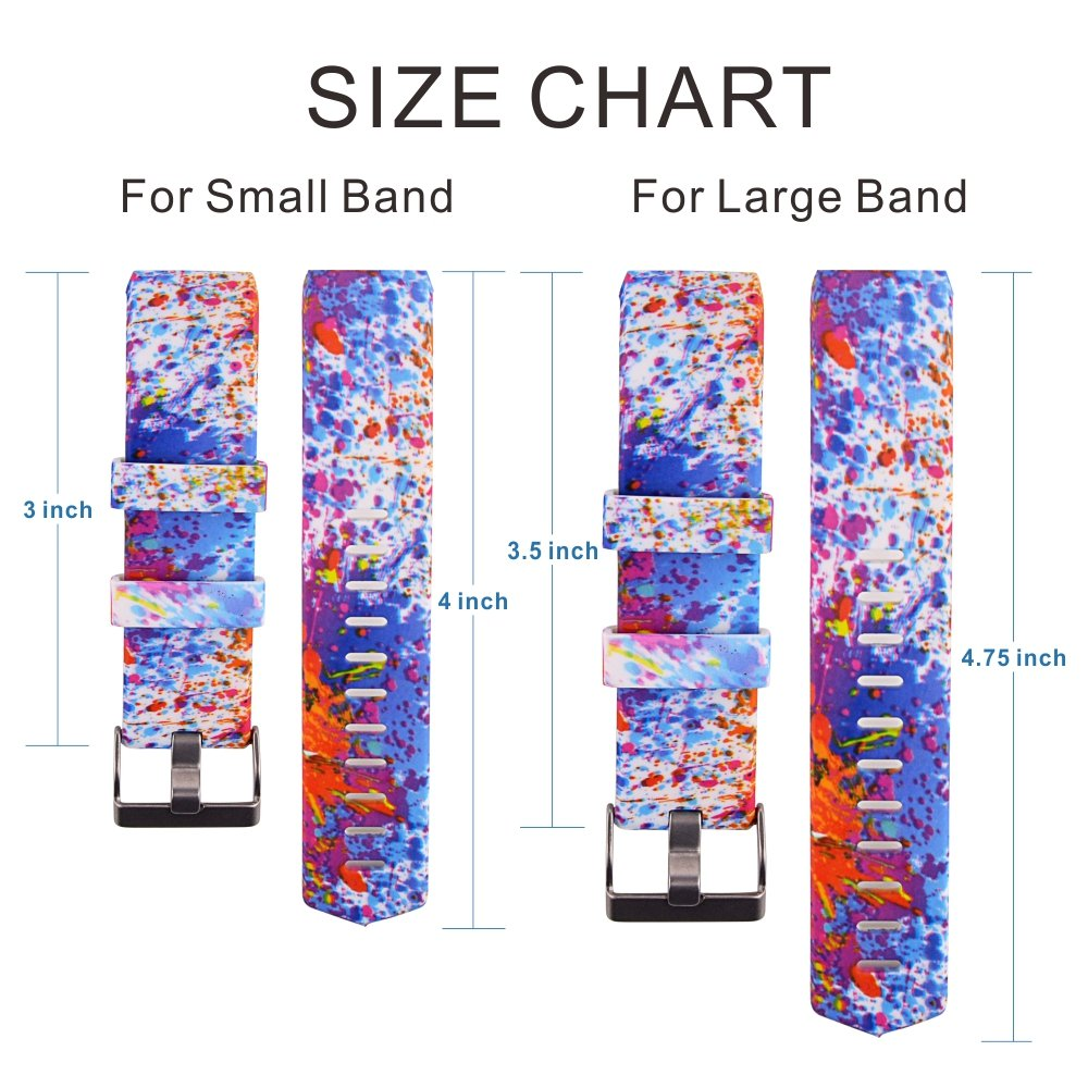 Fitbit Charge 2 Band,Soft Silicone Adjustable Replacement Sport Strap Printed Design Bands with Classic Buckle Fitness Accessory Wristband for Fitbit Charge2 (Pattern-14, Large (Wrist 6.5\