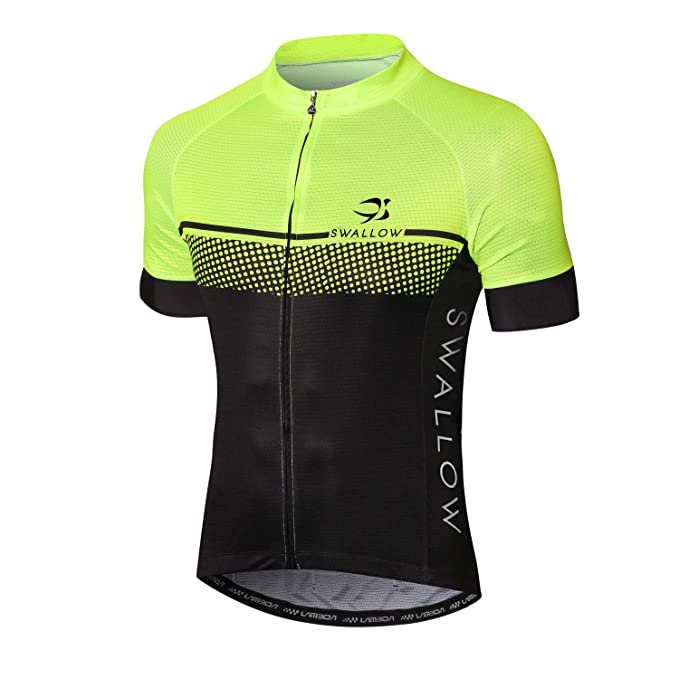 Swallow Men Cycling Jersey Short Sleeve Moisture Wicking Lightweight Bike Shirt with Full Zip for Road Bike Running MTB