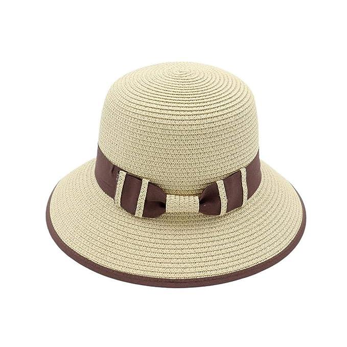 9a4db97920e Women Beach Cap for Travel Outdoors Sun Hat Bucket Cap Straw Hat Rounded  Crown Sunshade Cap