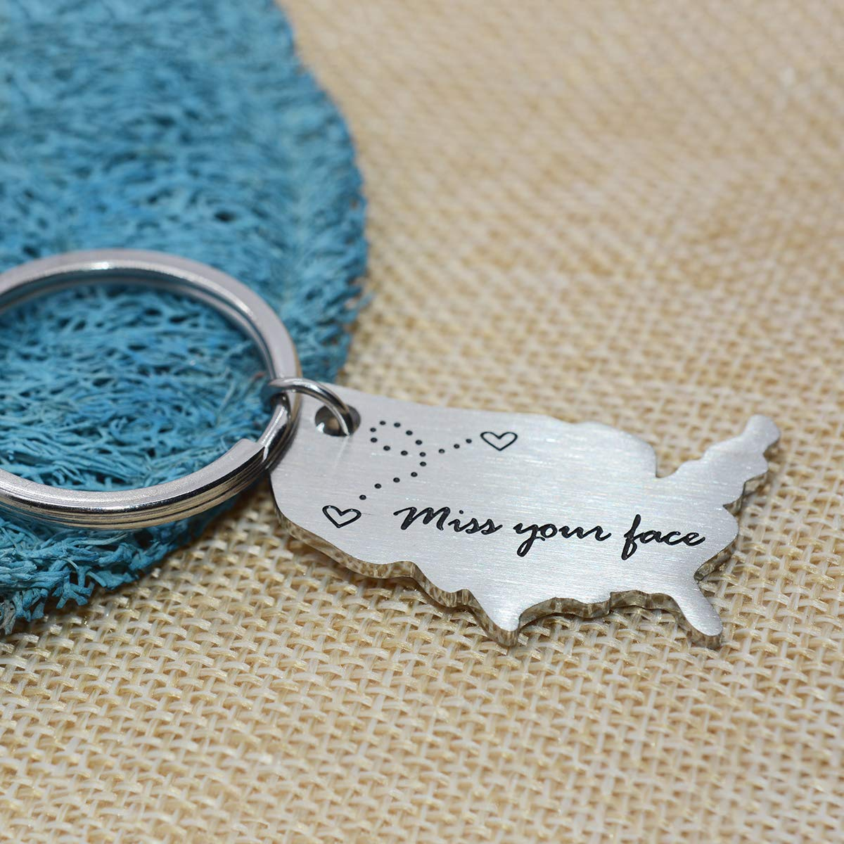ST-Powe Long Distance Relationship Keychain Stainless Steel Map Keyring Going Away Gift Away State Keychain Love Keychains Than The Miles Between Us Long Distance Boyfriend Gifts Relationship Keychain