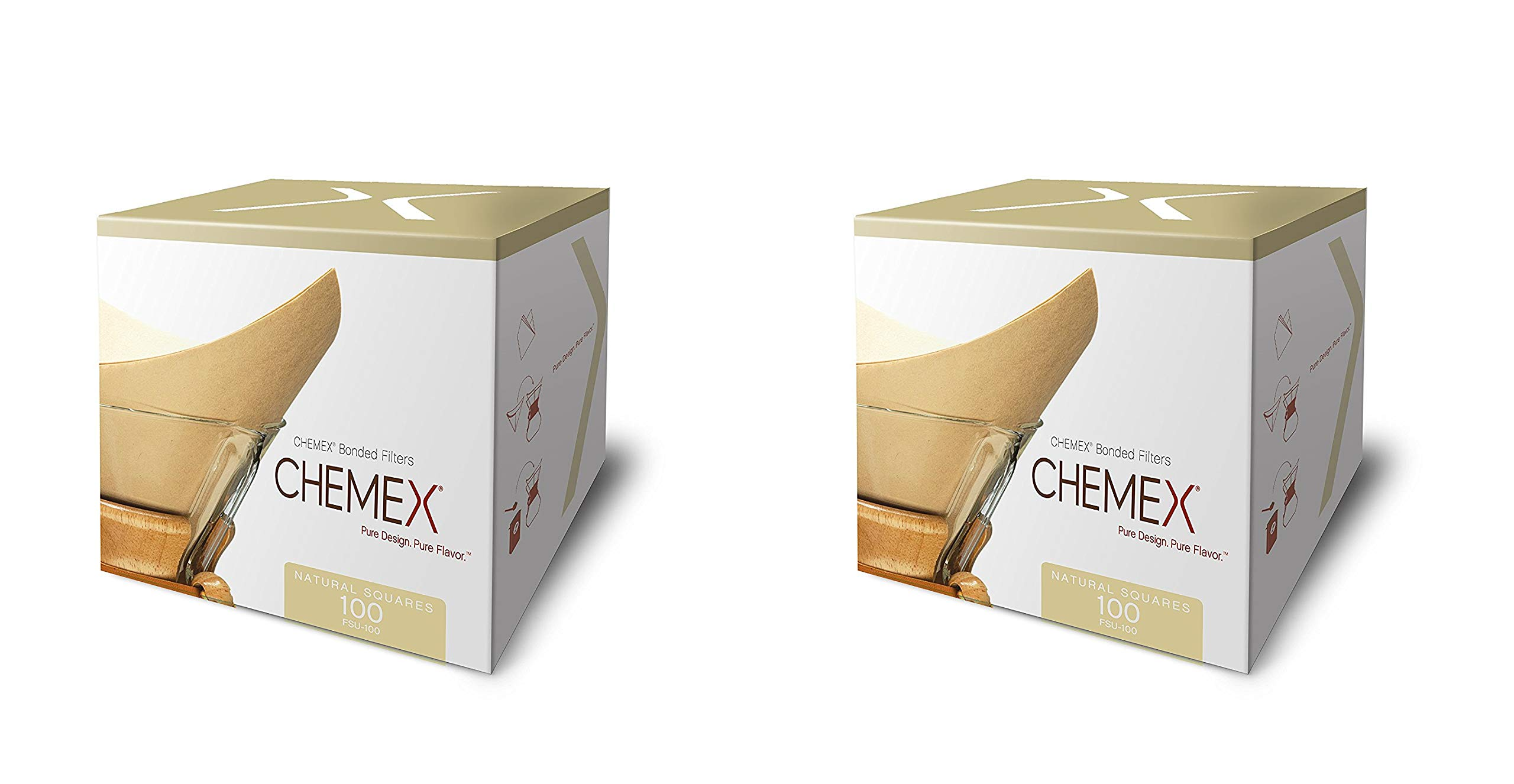 Chemex Natural Coffee Filters, Square, 100ct - Exclusive Packaging, 2 Pack