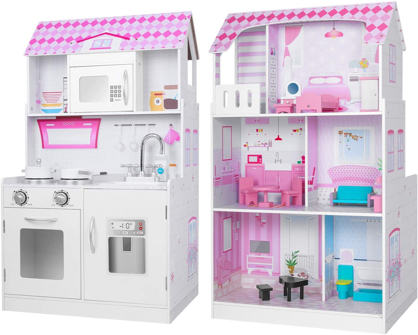 BABLE Wooden Dollhouse & Play Kitchen 2 in 1, Double-Sided, Kids Kitchen Playset, Play Kitchen for Toddlers with 13-Pc Furniture and 2-Pc Kitchen Accessories Set, Pink / White