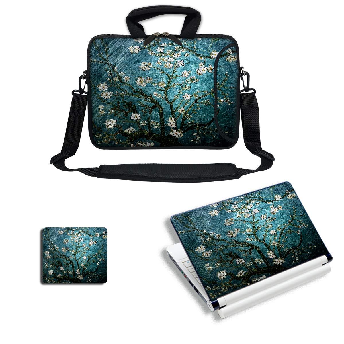 Meffort Inc Laptop Bundle Deal - Includes Neoprene Laptop Bag with Side Pocket Adjust Shoulder Strap with Matching Skin Sticker Decal & Mouse Pad (13.3 Inch, Almond Blossoming)