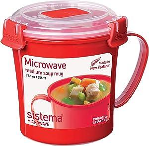Sistema Microwave Collection Soup Mug 22.1 oz, Red