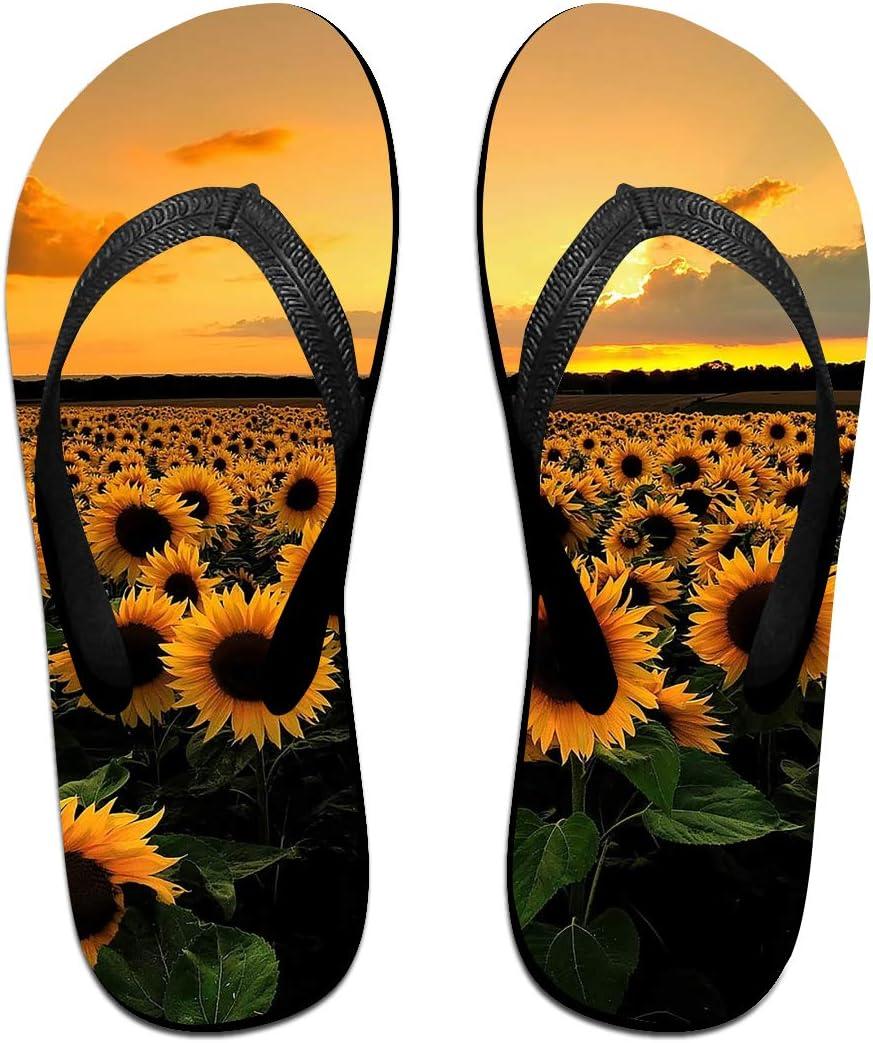 Sunflowers Landscape Mens and Womens Light Weight Shock Proof Summer Beach Slippers Flip Flops Sandals