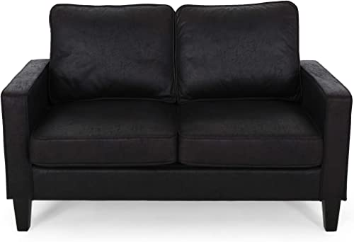 Christopher Knight Home 307776 Ophelia Traditional Microfiber Loveseat, Black