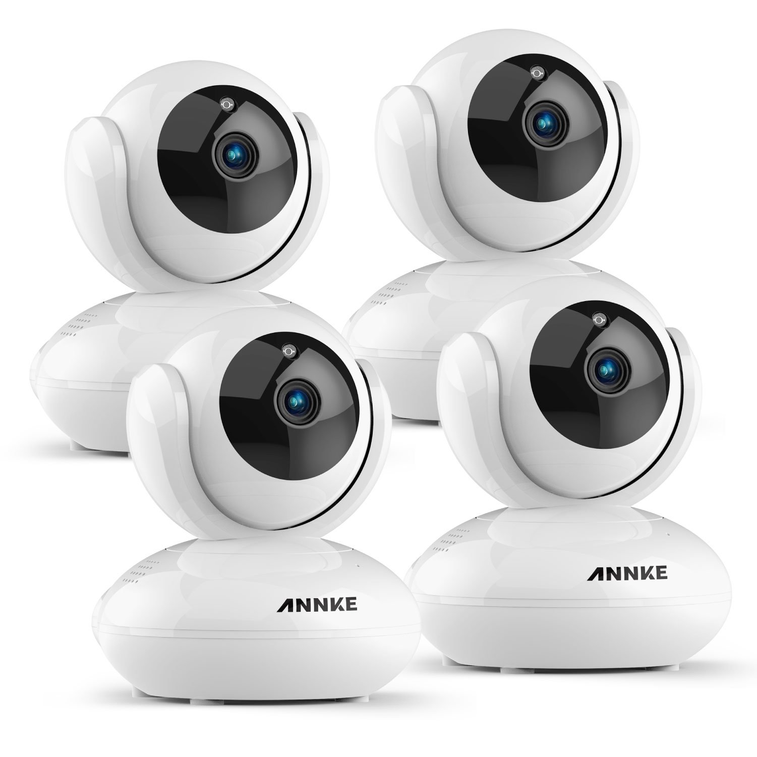 ANNKE 1080P Home Camera, 4x Indoor Wireless IP Security Surveillance System with Night Vision for Home / Office / Baby / Pet Monitor with iOS, Android App - Smart App Push Alerts