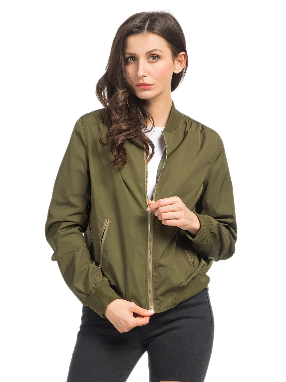 PERSUN Womens Fashion Green Long Sleeve Zip Up Flight Bomber Jacket,Small