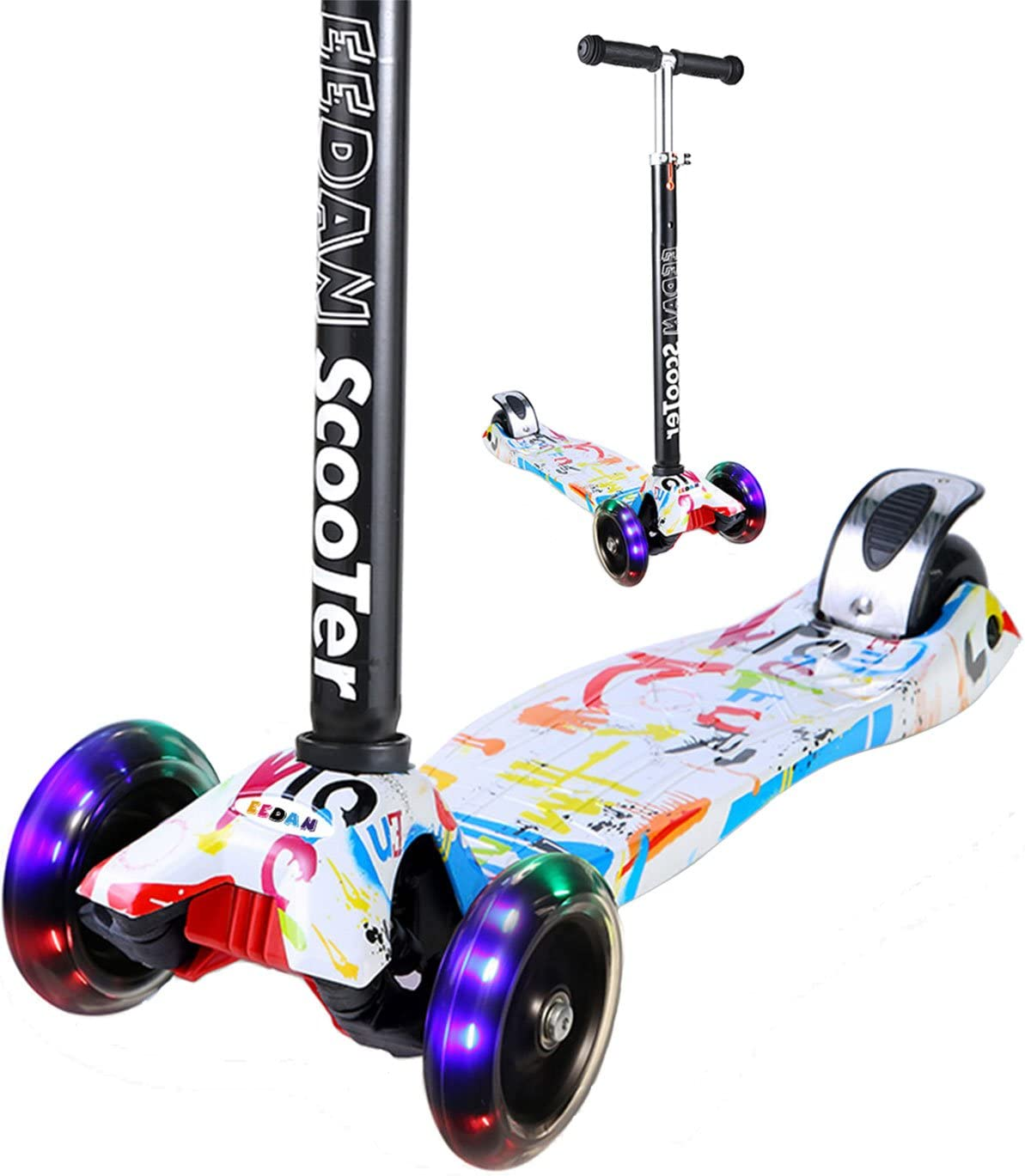 EEDAN Scooter for Kids 3 Wheel T-bar Adjustable Height Handle Kick Scooters with Deluxe PU Flashing Wheels Wide Deck for Boys Girls from 2 to 14 Year-Old