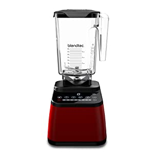 Blendtec Designer Series Blender - WildSide+ Jar (90 oz) - Professional-Grade Power - Self-Cleaning - 6 Pre-programmed Cycles - 8-Speeds - Sleek and Slim - Red