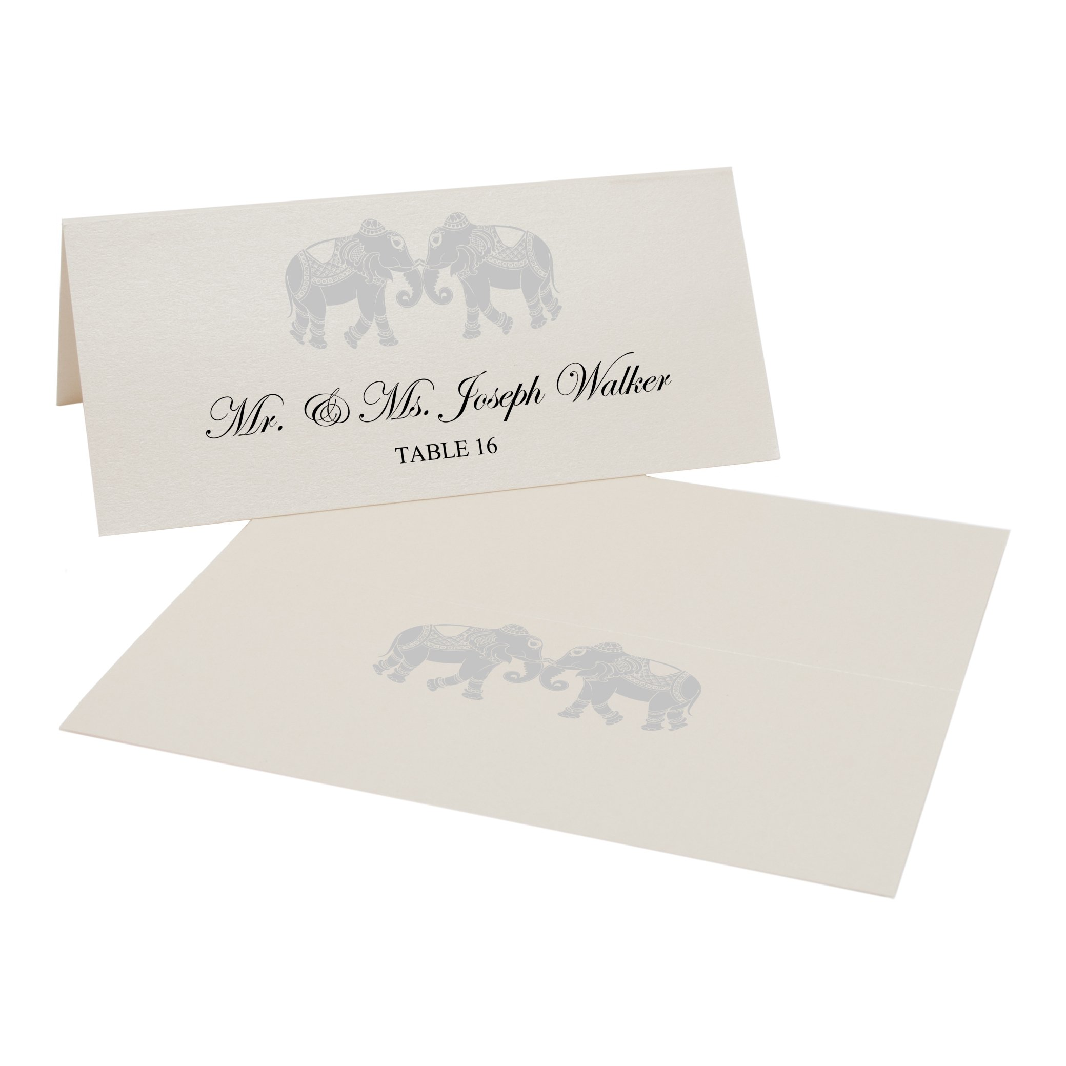 Indian Elephants Easy Print Place Cards, Champagne, Silver, Set of 300 (75 Sheets) by Documents and Designs
