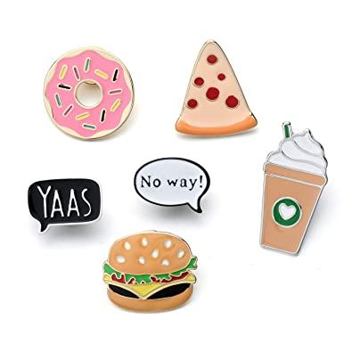 fd1a5ec25608 Amazon.com: Cartoon Enamel Ice Cream Hamburgers Food Coffee Pin Set ...