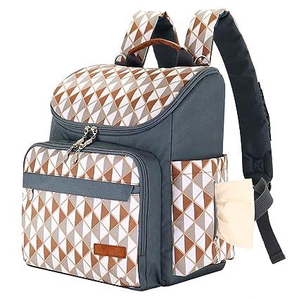 Bolso cambiador para bebé con bolsillos aislados, correas resistentes al agua, bolsa de pañales