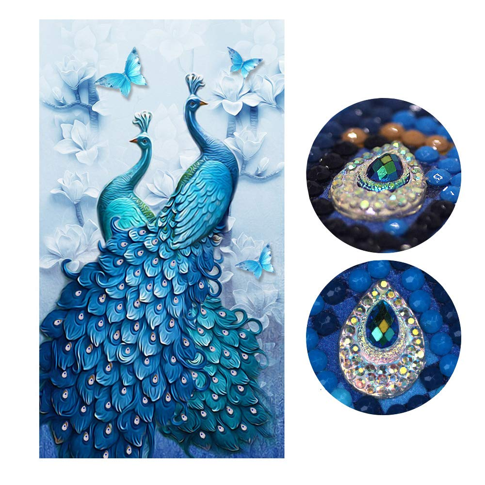 Diamond Painting Full Drill Beautiful Peacock DIY Arts Craft for Home Wall Decor (60 x 100 cm) by Trayosin