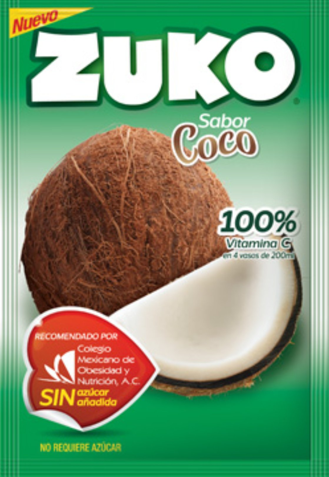3 X ZUKO COCO Flavor No Sugar Needed Makes 2 Liters of Drink 15g From Mexico