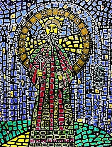 St. Peter the Apostle Original Mixed Media Framed Mosaic Painting Catholic Art Michelle Astuto Collins