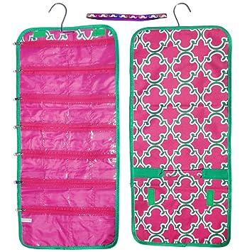 best unique pink green quatrefoil hanging travel jewelry makeup kit hanger organizer inexpensive bag case cool