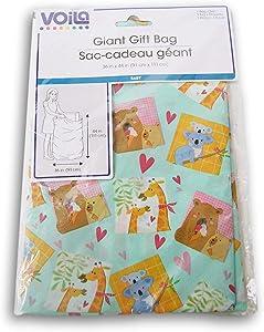 """Giant Gift Bag 36""""x44"""" for Baby Shower or Child's Birthday, boy or Girl - Giraffes & Koalas"""